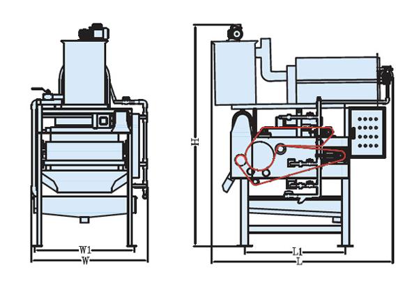 Mô hình hoạt động máy ép bùn băng tải TDR