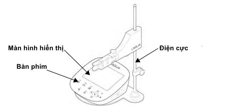 Cấu tạo mặt trước máy đo pH cầm tay